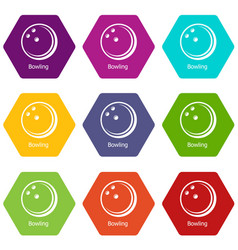 bowling ball icons set 9 vector image