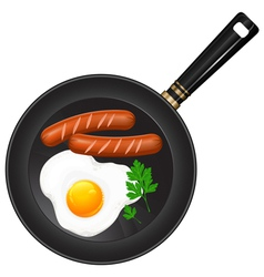 Breakfast egge pan sausage parsley vector
