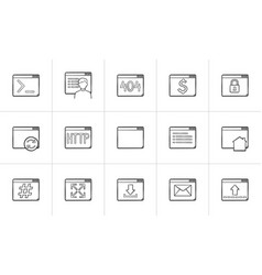 browser windows hand drawn outline doodle icon set vector image