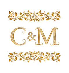 C and m vintage initials logo symbol letters vector