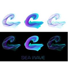 C letter sea wave bright design logo vector