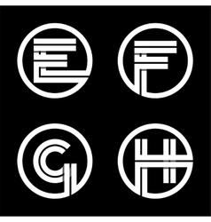 Capital letters E F G H Double white stripe vector