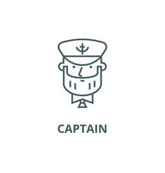Captain with nautical hat line icon vector