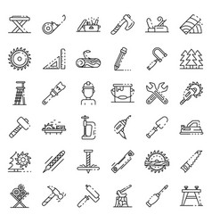Carpenter icons set outline style vector