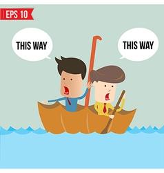 Cartoon business man rowing a boat in his Umbrella vector image
