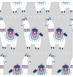 Cartoon llama alpaca seamless pattern vector