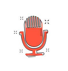 Cartoon microphone icon in comic style mic vector