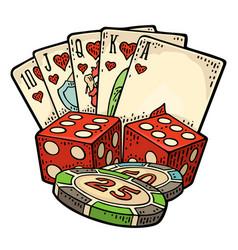 Casino set vintage color engraving vector