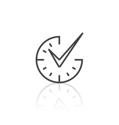 Check mark on clock icon vector