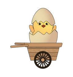 Chick in eggshell vector