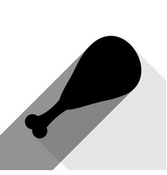 Chicken leg sign black icon with two flat vector