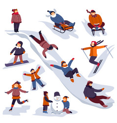 children sledding and playing outdoors in winter vector image