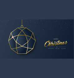 Christmas and new year gold luxury ornament card vector