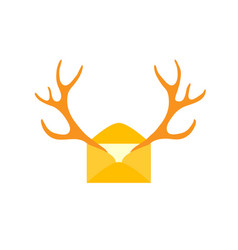 christmas new year mail of flat icon deer vector image