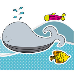 color aquatic animals in the sea icon vector image