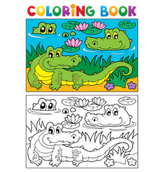 coloring book crocodile image 2 vector image