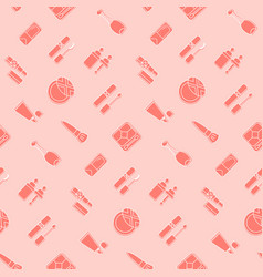 cosmetic icon seamless pattern pink wallpaper vector image