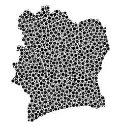 Cote d ivoire map collage of dots vector
