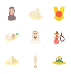 Country Egypt icons set cartoon style vector