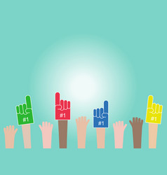 crowd raised hands wearing foam fingers fans vector image