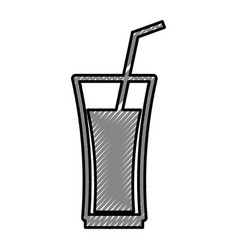 Cup glass with straw icon vector