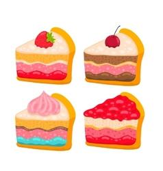 cute cartoon cake piece vector image