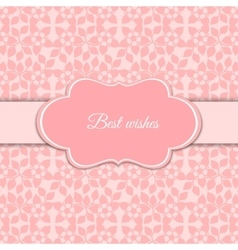 Cute romantic pink floral card vector image