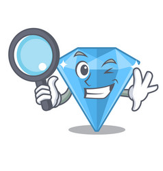 Detective sapphire gems in cartoon shape vector