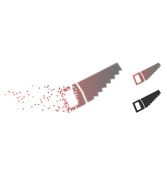 Disintegrating pixel halftone wood saw icon vector