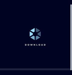 download icon blue hexagon logo concept process vector image