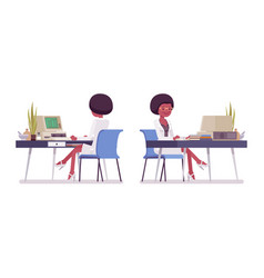 Female black scientist working at desk vector
