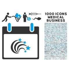 Festive Fireworks Calendar Day Icon With 1000 vector