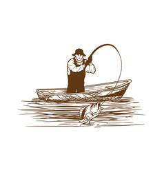 Fisherman flat line art color logo vector