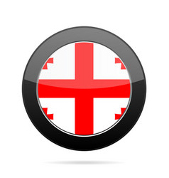 flag of georgia shiny black round button vector image