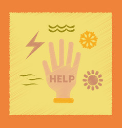 Flat shading style icon hand natural disasters vector