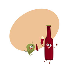 funny beer bottle and hop characters having fun vector image