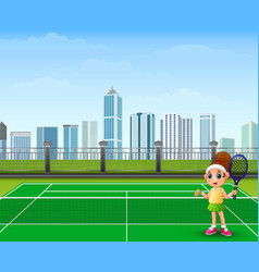 girl waiting played tennis vector image