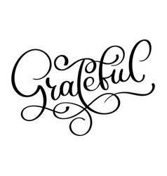 Grateful hand drawn postcard lettering vector