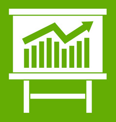 Growing chart presentation icon green vector