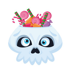 Halloween head skull with candies vector