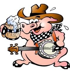 Hand-drawn an pig playing banjo vector