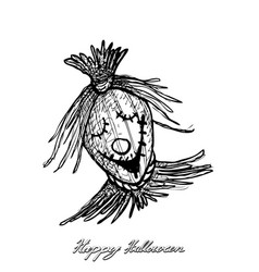 hand drawn of scarecrow for halloween celebration vector image