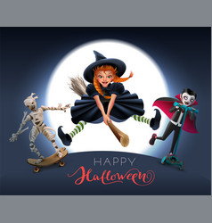 Happy halloween greeting card text witch on broom vector