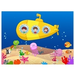 Happy kids in submarine vector