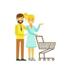 happy young couple with shopping cart family vector image