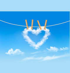 heart shaped cloud on rope nature beautiful vector image