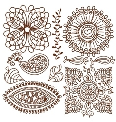 Henna tattoo doodle elements set vector