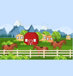 Horses farm green field farm ville sunny vector