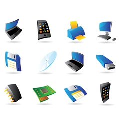 Icons for computer and devices vector image vector image