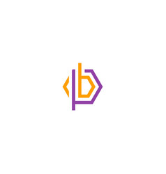 initial b abstract line logo vector image